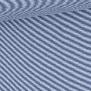 Ringelbündchen 1mm, rauchblau/weiß