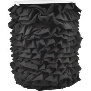 Jerseyvolant Rüsche 30mm, schwarz