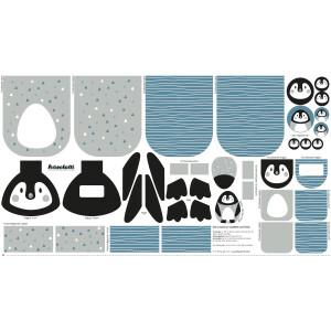 Baumwolle Paneel Pinguin, weiß/dunkelpetrol
