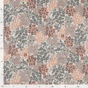 Baumwollvoile Soft Blumenmeer, offwhite/grün/orange