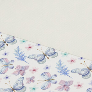 Kunstleder Schmetterlinge 50x68cm, weiß/blau/rosa