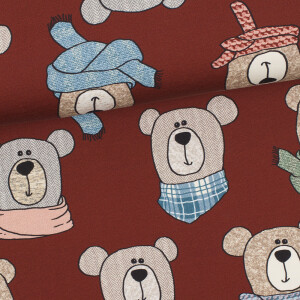 French Terry Sweet Bears, rostbraun