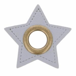 Öse auf Kunstleder Stern 11mm, grau/messing