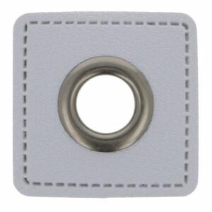 Öse auf Kunstleder Quadrat 8mm, grau/gunmetal