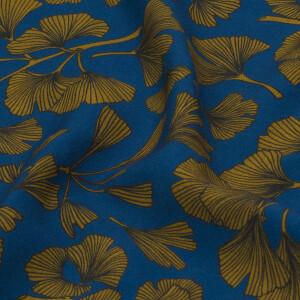 Viskose Ginkoblätter, blau/ocker
