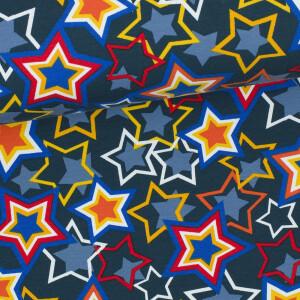 French Terry Stars, dunkelblau/gelb/rot