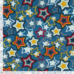 French Terry Stars, blau/gelb/rot