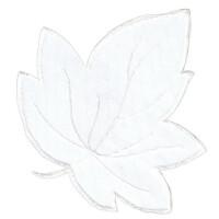 Applikation Blatt weiß, 8,5 x 8,5cm