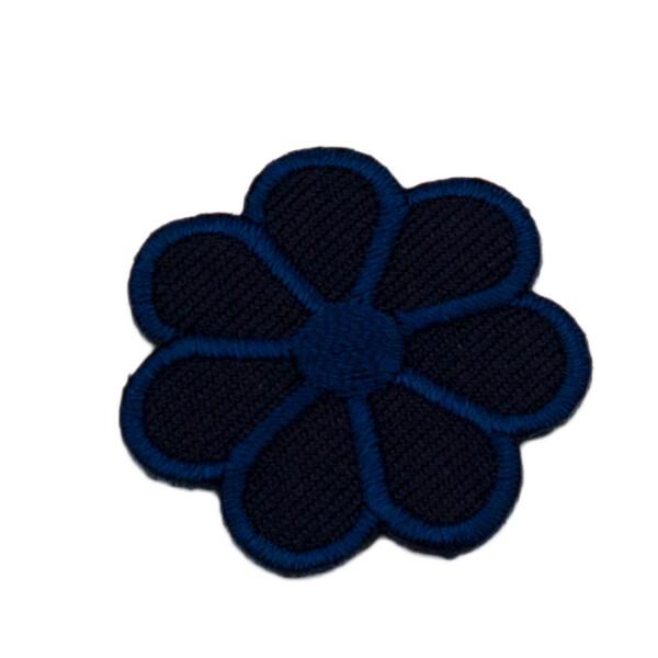 Patch Blume dunkelblau, 3 x 3 cm
