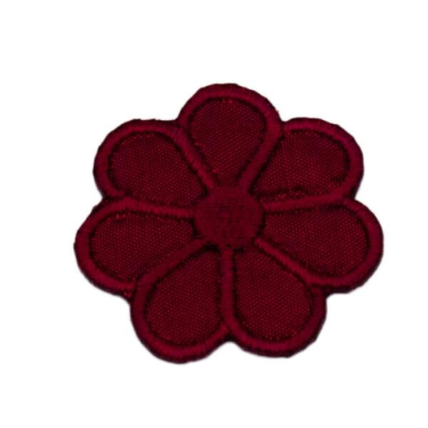 Patch Blume dunkelrot, 3 x 3 cm