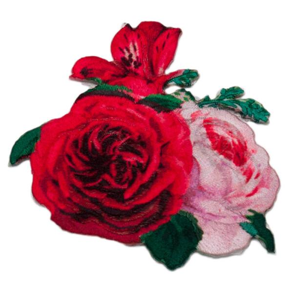 Patch Pfingstrose rosa/pink, 6,8  x 7,2 cm