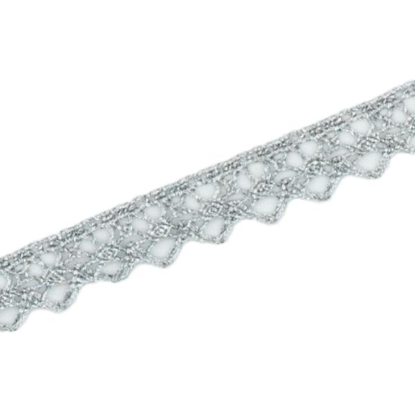 Klöppelspitze 11 mm, silber hell