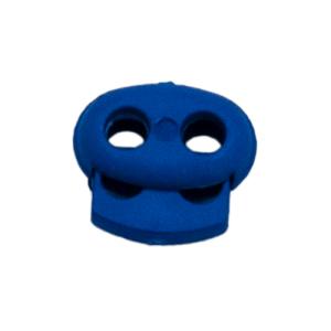 Kordelstopper mit Feder blau, 2 Löcher 18mm