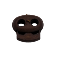 Kordelstopper mit Feder braun, 2 Löcher 18mm