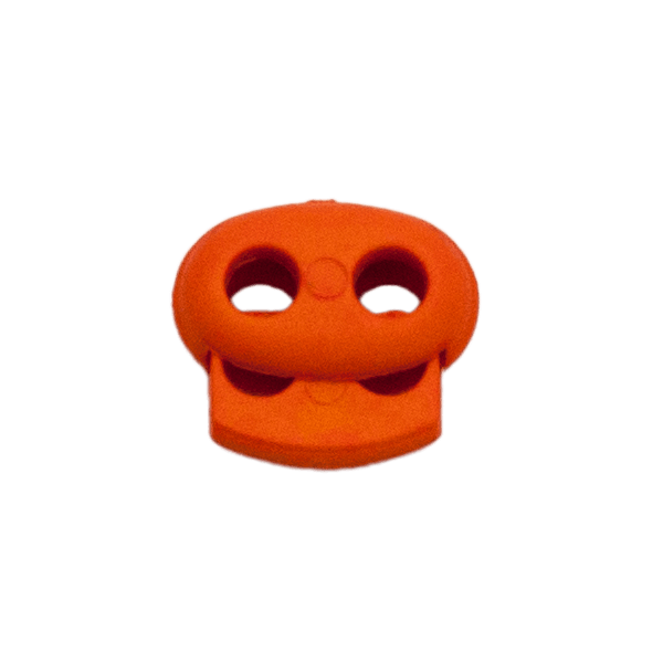 Kordelstopper mit Feder orange, 2 Löcher 18mm