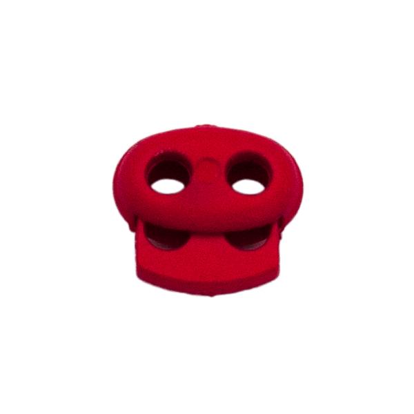 Kordelstopper mit Feder rot, 2 Löcher 18mm