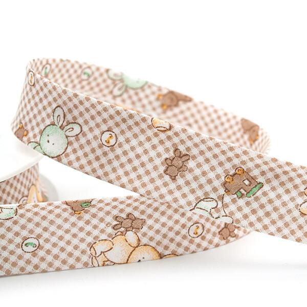 Baby -Schrägband Hasen 25 mm, beige