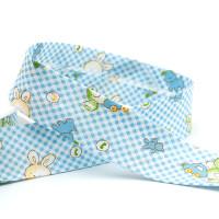 Baby -Schrägband Hasen 25mm, blau