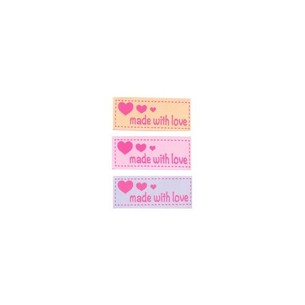 Applikation made with love 3er Set, 5x2cm