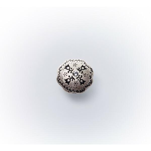 Dirndlknopf Strassstein 13mm, altsilber kristall